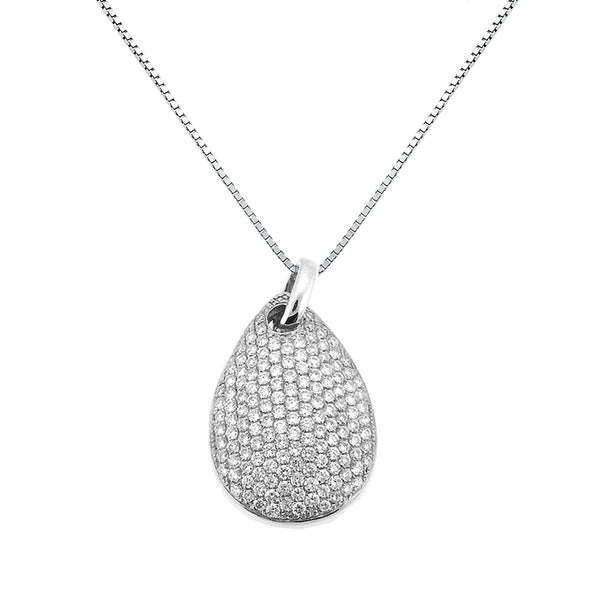 DIAMOND PENDANT PEAR SHAPED MICRO PAVE  SET IN 18K WHITE GOLD 0.75CTW