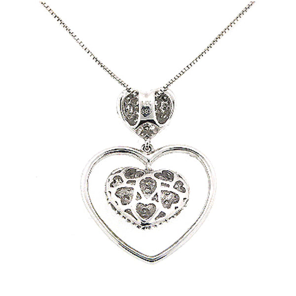 DIAMOND HEART PENDANT NECKLACE PAVE SET 14K WHITE GOLD 0.85CTW
