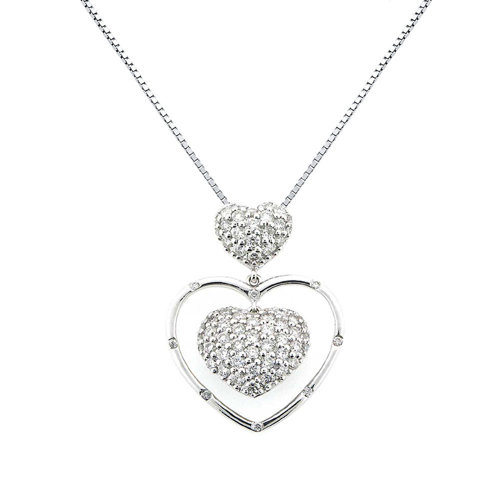 Diamond heart pendant necklace pave set 14k white gold 085ctw diamond heart pendant necklace pave set 14k white gold 085ctw perry b designs aloadofball Images