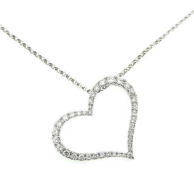 Dazzling diamond heart pendant 14k white gold 049ctw perry b dazzling diamond heart pendant 14k white gold 049ctw perry b designs aloadofball Images