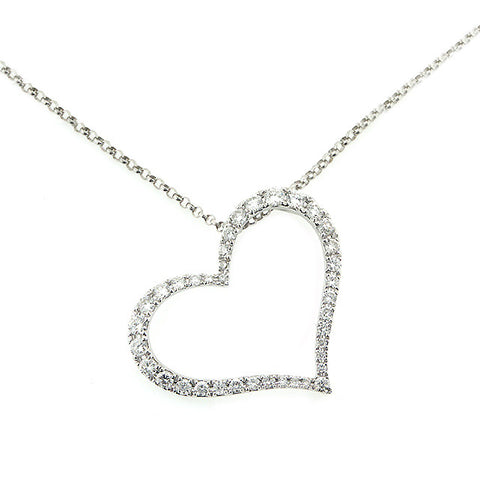 DAZZLING DIAMOND HEART PENDANT 14K WHITE GOLD 0.49CTW