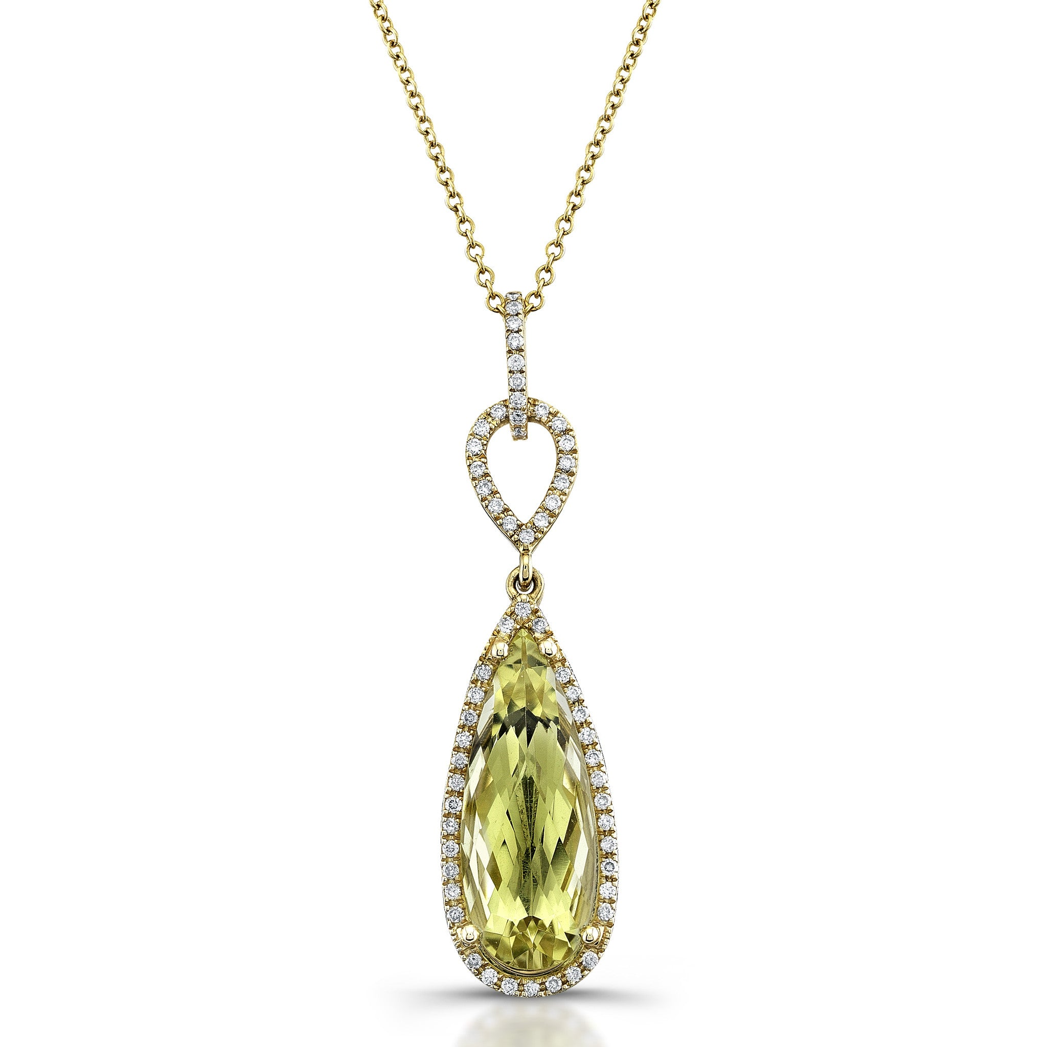 STUNNING PEAR SHAPED LEMON QUARTZ DIAMOND PENDANT IN YELLOW GOLD