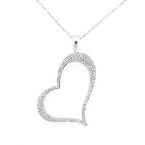 STUNNING LARGE DIAMOND HEART PENDANT 18K WHITE GOLD 0.56CTW