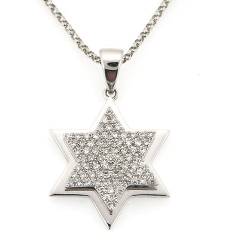 STAR OF DAVID JEWISH PENDANT NECKLACE IN 14K WHITE GOLD 0.22CTW