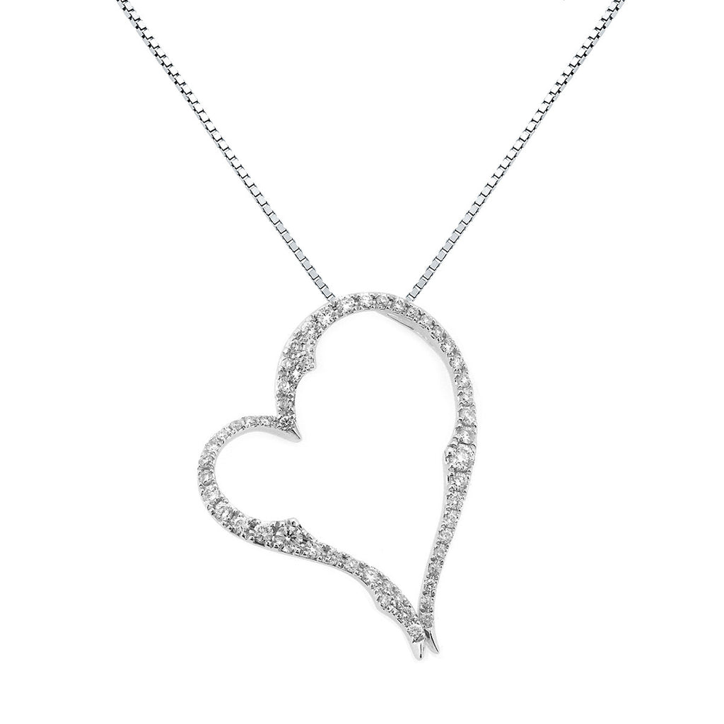 Diamond heart pendant 14k white gold 035ctw perry b designs diamond heart pendant 14k white gold 035ctw aloadofball