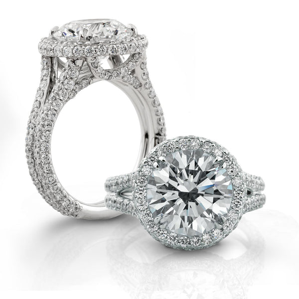 Halo Diamond Engagement Ring Pave-Set in Platinum 2.04ctw for 4ct Center