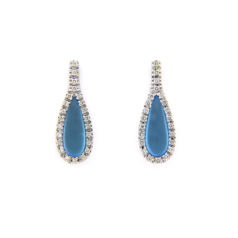 FROSTED DIAMOND BLUE TOPAZ EARRINGS IN 18K WHITE GOLD 2.84CTW