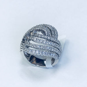18K WHITE GOLD DIAMOND COCKTAIL RING 2.56 CTW