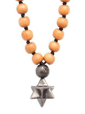 Mala Star Tetrahedron Sandalwood with White Brass