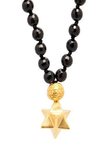 Mala Star Tetrahedron Facet Onyx w Brass Plated Gold