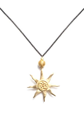 Om Sun Necklace Black