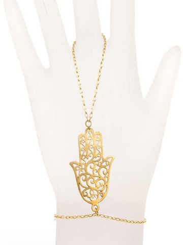 Hamsa Swirl Brass Plated Gold