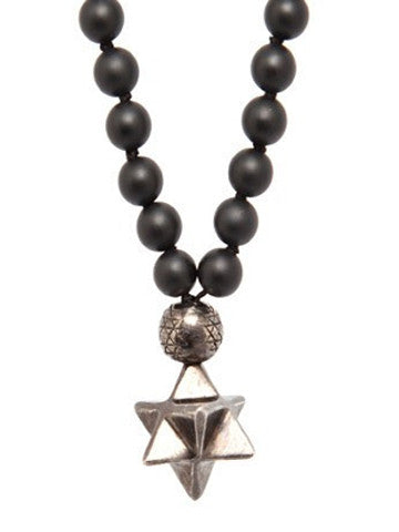 Mala Star Tetrahedron Onyx w White Brass and Gunmetal