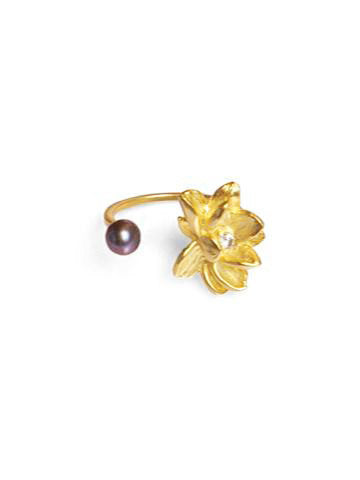 Lotus Peacock Ring with Pearl