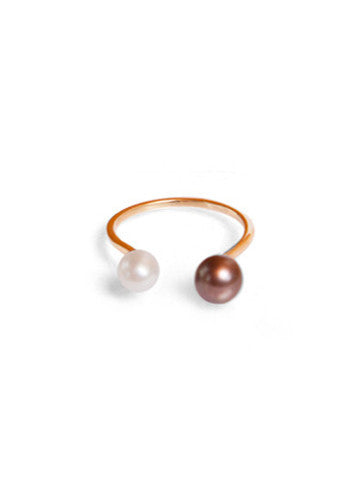 Open Double Pearl Ring, White and Peacock Pearl, Vermeil