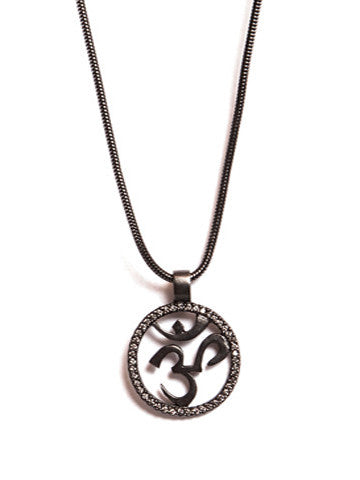 OM, Gunmetal, Handset Stones on Snake Chain