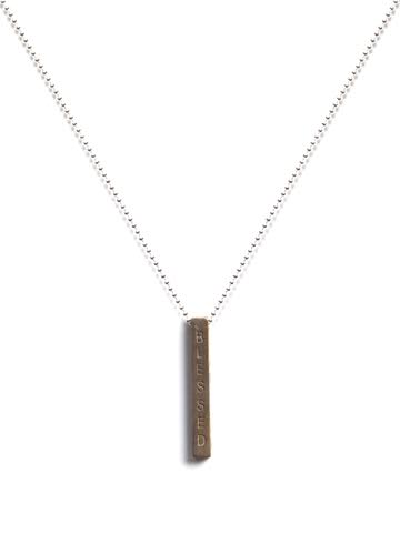 Blessed I AM I AM Bar Ox Brass Silver Necklace
