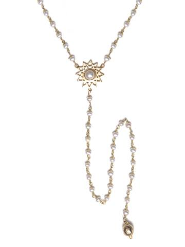 V Dodecagram Pearl Necklace with Long Pearl Drop