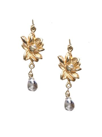 Lotus Crystal Drop Earrings