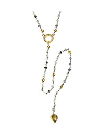V Open Disk Pyrite/Vermeil Beaded Necklace with Long Sri Yantra Ball Drop