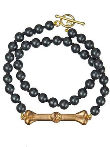 Double Wrap Bhakti Bar Bracelet- Matte Black