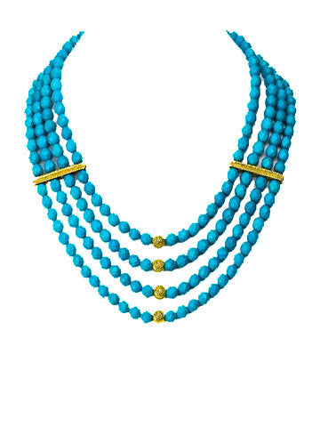 Four Row Collar Necklace Turquoise