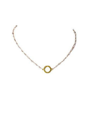 Open Disk Pearl Beaded Choker