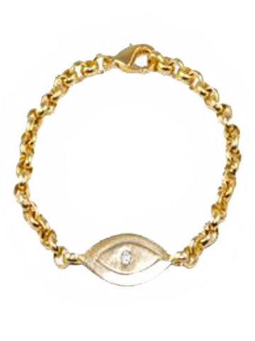 Evil Eye Link Bracelet with Cubic Zirconia - Gold