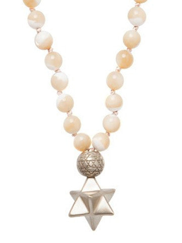 Mala Star Tetrahedron Mother of Pearl