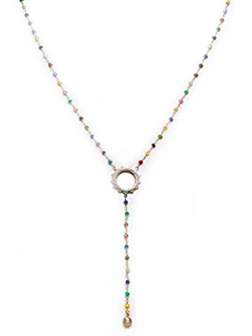 V Sri Yantra Multicolor Beaded Necklace with Long Sri Yantra Ball Drop