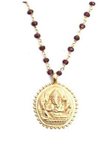 Garnet Beaded Ganesha Necklace