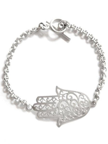 Hamsa Open Filigree Hand of Protection Bracelet