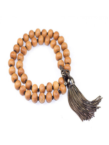 Double Wrap Sandalwood Bracelet with Tassel