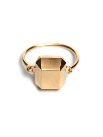 Octagon Sacred Geometry Brass Plated Bracelet- Gold
