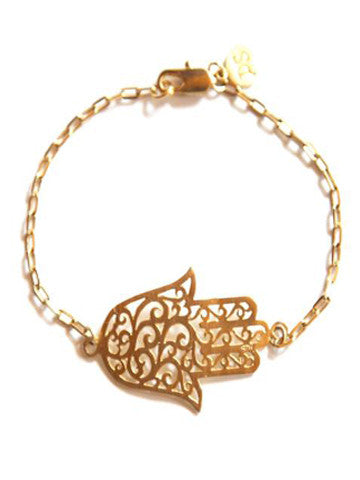 Hamsa Open Filigree Hand of Fate on Vermeil Bracelet
