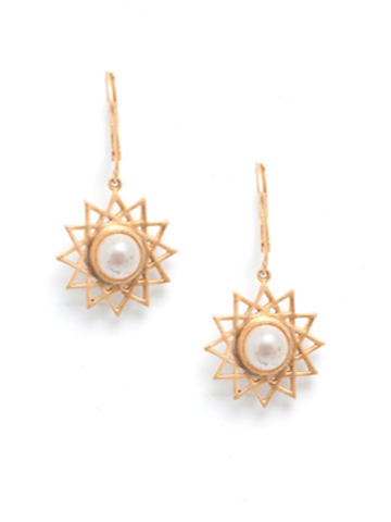 Dodecagram Pearl Earrings- Vermeil