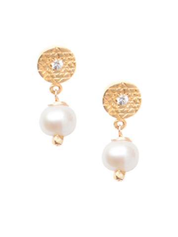 Sri Yantra Pearl Earrings- Vermeil