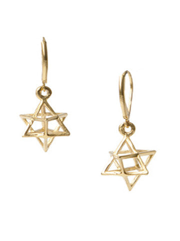Star Tetrahedron Gold Earrings