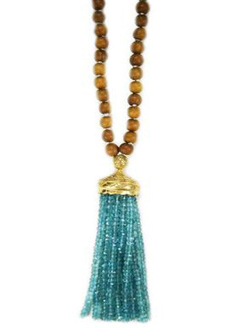 Mala- Sandalwood with Apatite Tassel
