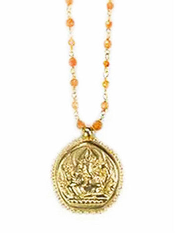 Carnelian Beaded Ganesha Necklace