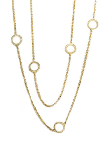 Double Layer Open Disk Necklace- Vermeil