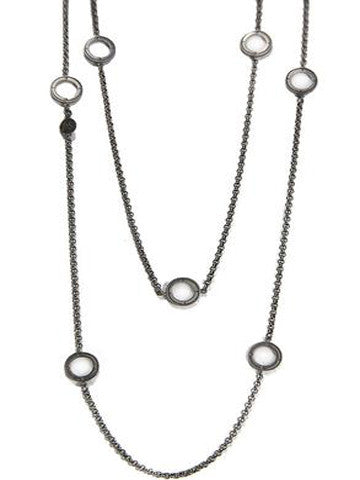 Double Layer Open Disk Necklace- Sterling Silver