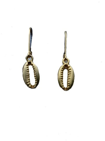 Cowrie Shell Drop Earring Gold
