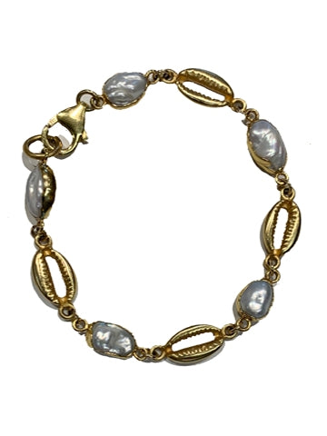 Cowrie Shell Small Pearl Bracelet