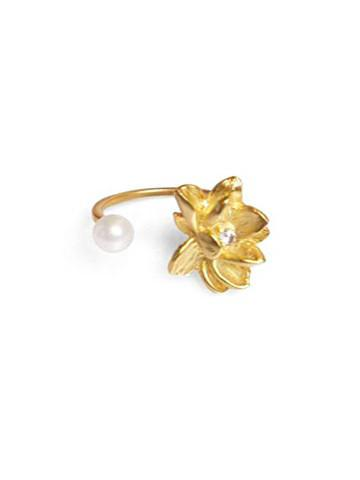 Lotus Ring w/ Pearl - Plated Gold (Vermeil)