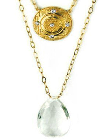 Sri Yantra Double Necklace 5 White Sapphires and Tear drop Crystal Stone