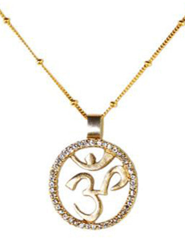 Om Necklace Vermeil with CZ Stones