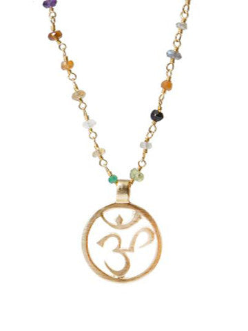 Gold OM on Handwrapped Beaded Chain
