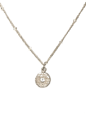 Sri Yantra a Pendant Small Sterling Silver with White Sapphire