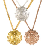 Sri Yantra a Large Pendant Elaborate with 5 White Sapphires-Yellow Gold Vermeil